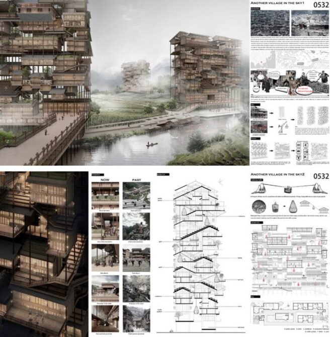 3rd place -Hmong Skyscraper Is A Stack Of Traditional Houses Unified By Vertical Public Space
